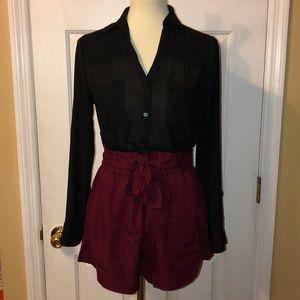 H&M High Waisted Burgundy Shorts